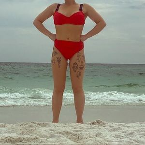 Aerie red underwire swim top and hw bottoms